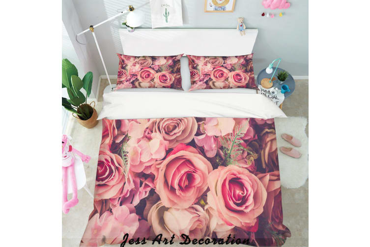 3D Red Flowers Quilt Cover Set Bedding Set Pillowcases  134-Double