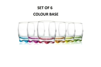 Set of 6 Clear Glass Tumbler Coloured Base Water Drinking Glasses Drink 290ml