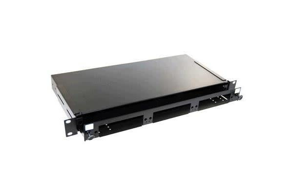"DYNAMIX 19"" 1U Fibre Patch Panel    3 Slot Ver5.  Metal Sliding Drawer Black. Supplied with 2x 24"