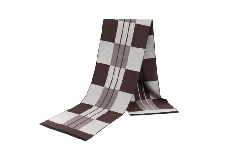 Men'S Scarf Medium-Aged And Old-Aged Winter Thermal Checker Scarf - Brown Brown 180Cm