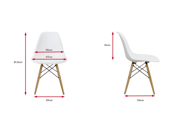 Ovela Set of 2 Eiffel DSW Dining Chairs - Eames Replica (White)