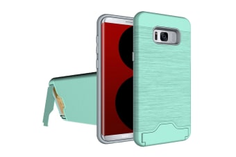 For Samsung Galaxy S8 Case  Brushed Card Slot Armour Durable Cover Green