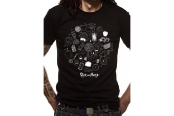 Rick And Morty Unisex Adults Icons Design T-shirt (Black)