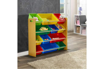 Levede 4 Tier Wooden Kids Children Toy Organizer Bookshelf with 12 Plastic Bins