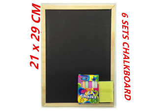 6 set Blackboard Chalkboard With Chalk and DusterWooden Frame Board Cafe School