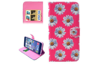 For iPhone 6S PLUS 6 PLUS Wallet Case Pink Chrysanthemum Leather Shielding Cover
