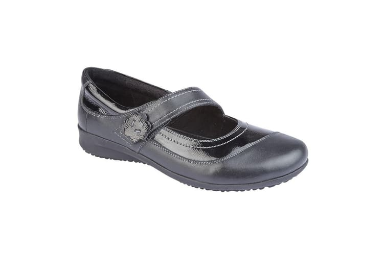 Mod Comfys Womens/Ladies Touch Fastening Leather Casual Shoes (Black) (5 UK)