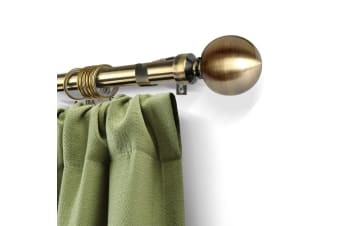 Extendable 190-380cm Metal Curtain Rod with Metal Ball in Brass Colour