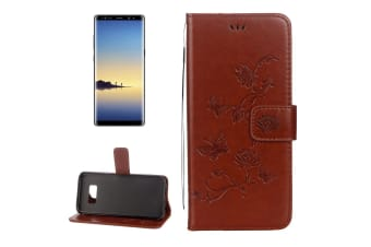 For Samsung Galaxy Note 8 Wallet Case Modern Lotus Butterfly Durable Cover Brown