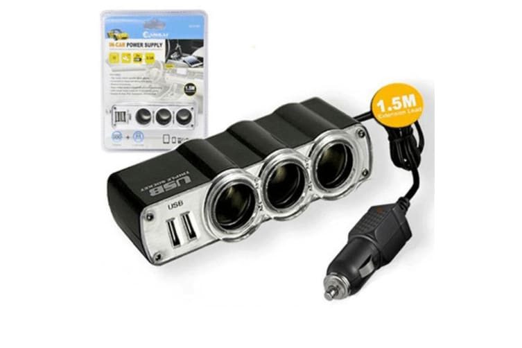 Sansai In Car Power Supply Cigarette Lighter/ 3x Sockets/2x USB Outlet Charger
