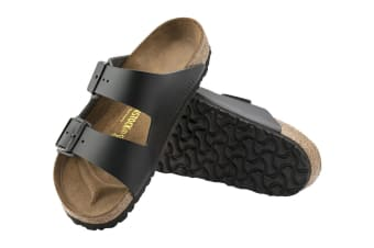 Birkenstock Arizona Natural Leather Sandal (Black, Size 44 EU)