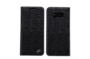 For Samsung Galaxy S8 Wallet Case Fierre Shann Crocodile Leather Cover Black