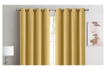 2X 100% Blockout Curtains Panels 3 Layers Eyelet MUSTARD 240X230cm