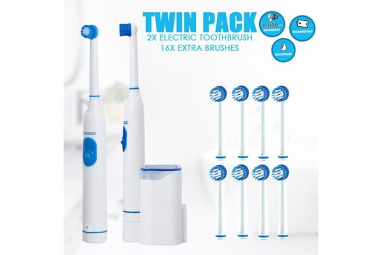 2Pcs Rechargeable Electric Toothbrush Oscillating 16X Replacement Brush Heads 2X
