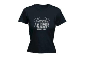 123T Funny Tee - Awesome Teacher - (X-Large Black Womens T Shirt)