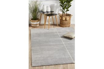 Carter Silver Grey & Ivory Super Soft Contemporary Rug 230x160cm
