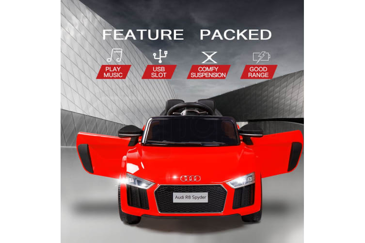 Rovo Kids Kids Ride-On Car Licensed AUDI R8 SPYDER Battery Electric Toy Remote 12V Red