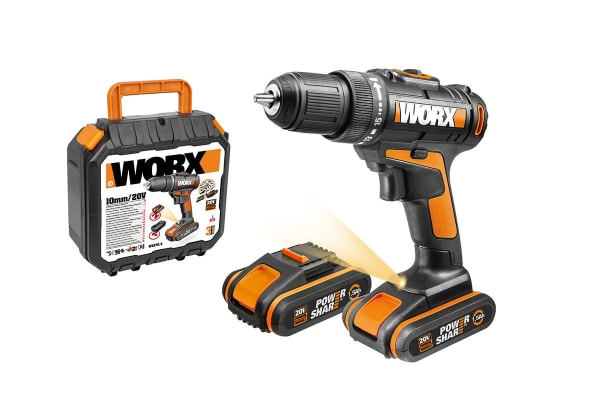 WORX 20V 10mm Cordless Drill with 2 x MAX Batteries, Charger and Case (WX170.4)