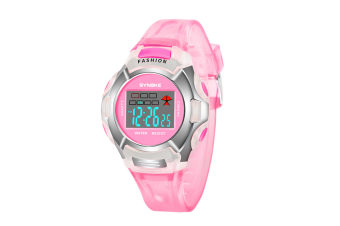 Children'S Watch Nightlight Waterproof Sports Electronic Watch Pink