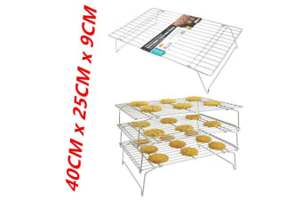 3-Tier Cake Cooling Stainless Steel Wire Rack Stack-able Kitchen Stand Baking
