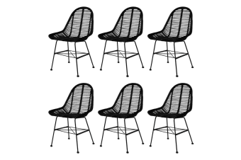 vidaXL Dining Chairs 6 pcs Natural Rattan Black