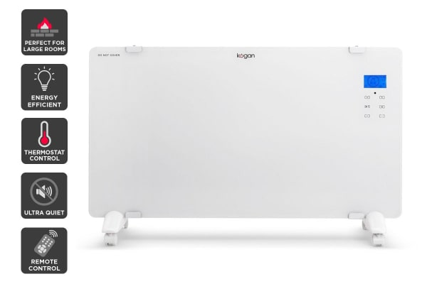 Kogan 2000W White Glass Portable Electric Panel Heater