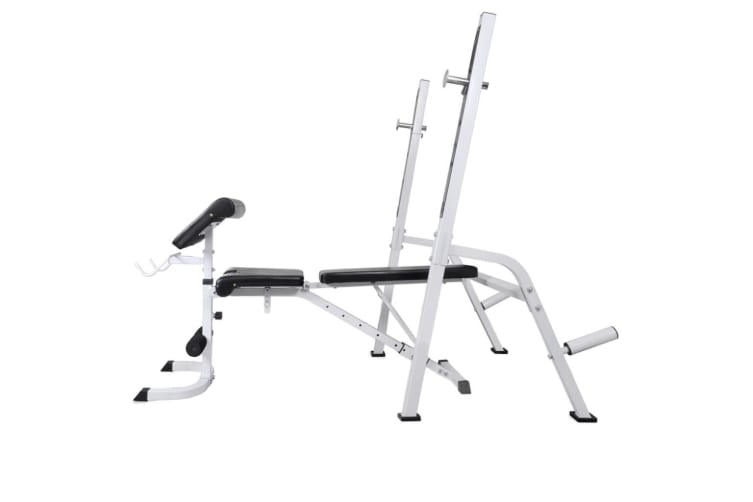 vidaXL Workout Bench with Weight Rack Barbell and Dumbbell Set 60.5kg
