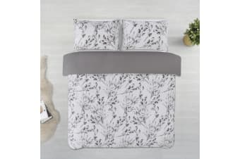 Dreamaker Printed Microfibre Quilt Cover Set King Single Bed Meadow