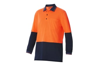 Hard Yakka High Visibility Two-Tone Long Sleeve Polo Top (Orange/Navy, Size 2XS)