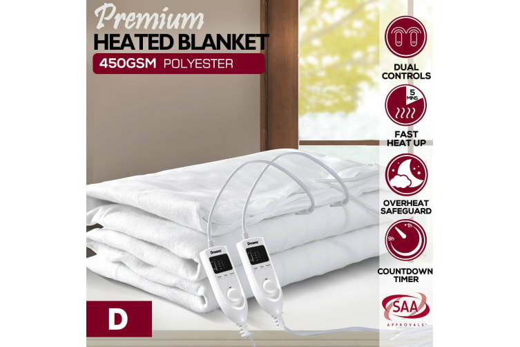 DreamZ 450 GSM Polyster Electric Blanket Heated Warm Winter Fitted Double Size