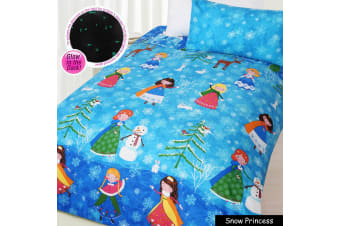 Glow in The Dark Snow Princess Quilt Cover Set DOUBLE by Happy Kids