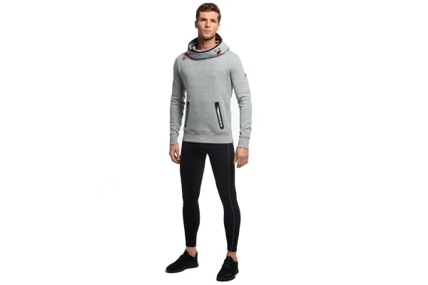 Superdry Men's Gym Tech Funnel Pocket Hoodie (Grey Grit, Large)