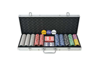 vidaXL Poker Set with 500 Laser Chips Aluminium