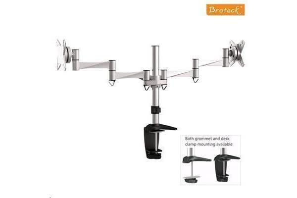 "Brateck BT-LDT02-C024 13-27"" Dual LCD Desk Clamp Mount Max arm reach: 858mm. Tilt:-+15deg Swivel"