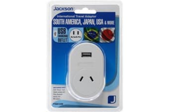 JACKSON Outbound Travel Adaptor  1x USB Charging Port. Converts NZ/Aust Plugs for use in USA