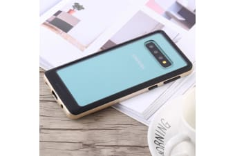 For Samsung Galaxy S10 Case Gold Bumper X Shockproof PC and TPU Cover