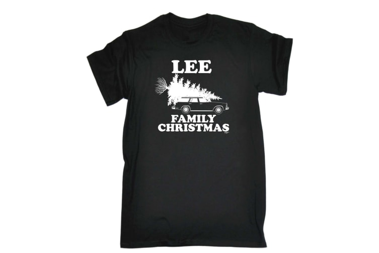123T Funny Tee - Lee Family Christmas - (X-Large Black Mens T Shirt)
