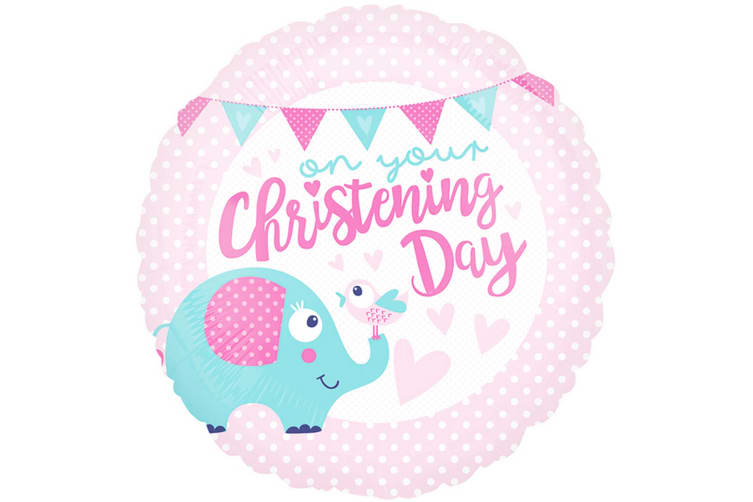 Anagram 18 Inch Christening Day Pink Circle Foil Balloon (Pink) (One Size)
