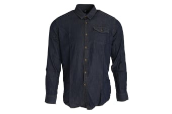 Premier Mens Jeans Stitch Long Sleeve Denim Shirt (Indigo Denim)