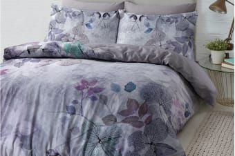 Style & Co 100 % Cotton Reversible Quilt Cover Set (Queen, Soft Leaves)