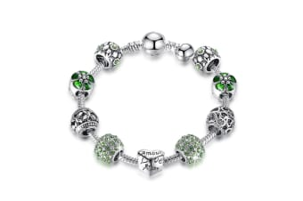 Pandora Inspired Full Set Beaded Charm Bracelet-Green