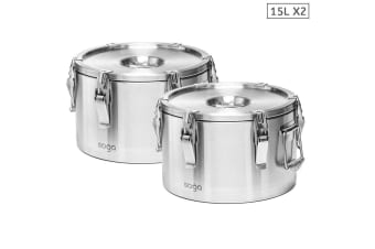 SOGA 2x 304 15L Stainless Steel Insulated Food Carrier Food Warmer