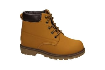 JCDees Boys Padded Collar Ankle Boots (Tan)