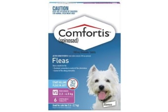 Comfortis for Dogs 2.3-4.5 kgs - 6 Chewables - Pink - Flea Control Tablets