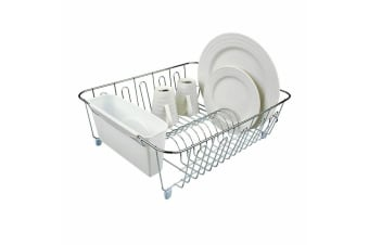 D.line Dish Drainer Dishrack Organiser Removable Cutlery Caddy Holder White