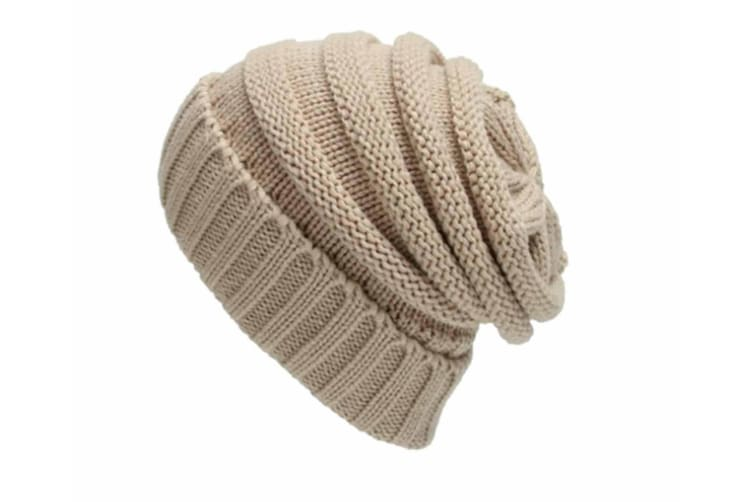 Soft Stretchable Cable Knitted Warm Cap Beige