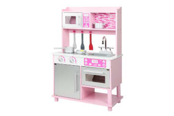 Keezi Kids Kitchen Play Set Wooden Pretend Play Toys Childrens Cooking Kit Pink