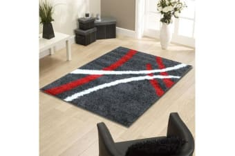 Modern Shag Rug Charcoal Red White