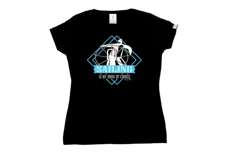 Ocean Bound Sailing Tee - Drug Of Choice - (X-Large Black Womens T Shirt)