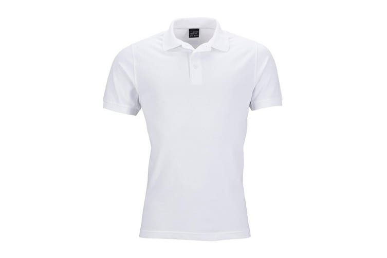 James and Nicholson Mens Elastic Pique Polo Shirt (White) (L)